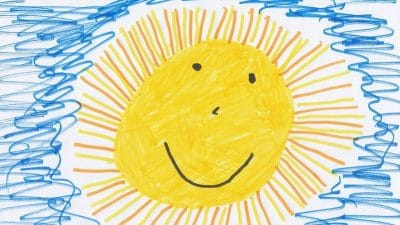 Off season inventory and staffing image shows a child's drawing of the sun with a smiling face & rays all around it. Around the sun are squiggly blue lines to indicate a blue sky.