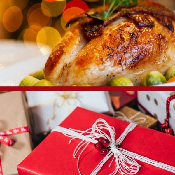 Heading into the holidays image is a combo of Thanksgiving & Christmas. Top pic shows a cooked, golden brown turkey. Pic on bottom is package wrapped in red paper.