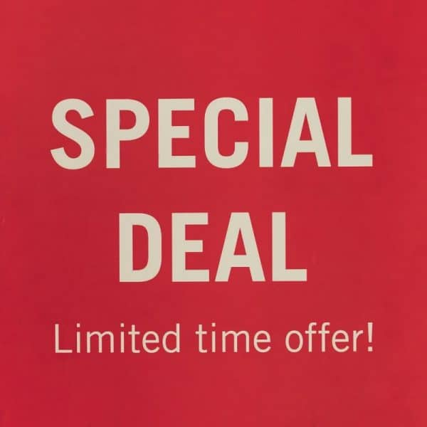 Limited time offer image shows deep red background with text: SPECIAL DEAL Limited time offer!