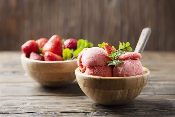 summer fruits and frozen custard